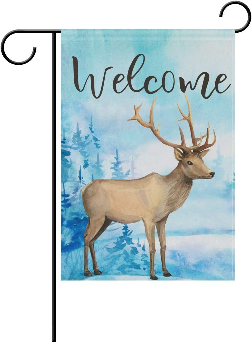 Tarity Blue Forest Deer Garden Flags Spring Summer Double Sided Polyester Yard Flag Decorative Welcome Hello House Flags Home Farmhouse Outdoor Decor 28 x 40 in