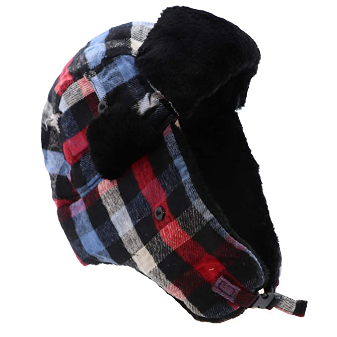 80d9733b8a917 Landana Headscarves Plaid Trapper Hat Bomber Cap Unisex Small Medium Hat -  Red Blue  Amazon.in  Clothing   Accessories