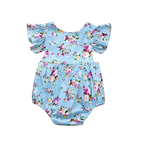 cb379f90b53a Amazon.com  G-real Infant Baby Girl Cute Printed Flower Romper ...
