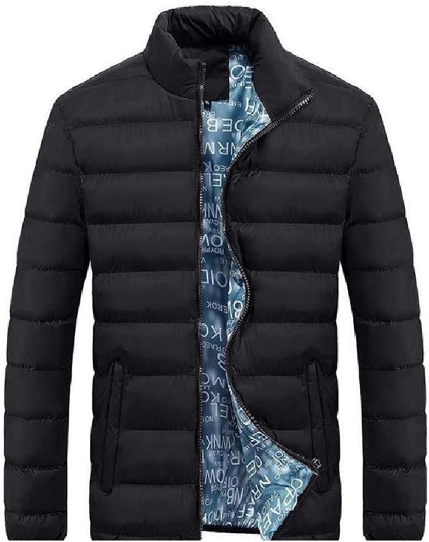 YUNY Men Thicken Cotton Zipper Lightweight Solid Down Jacket Black XL