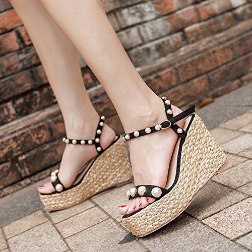 pearl le scarpe e ZHANGJIA muffin i tabelle rosa alti tacchi sandali 36 le sandali dita i impermeabili wEwxIq8AP