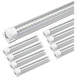 Kihung 8ft LED Shop Light Fixture, V Shape T8 Integrated Tube Light, 6000K Super Bright White, 9750LM, 75W, Linkable…
