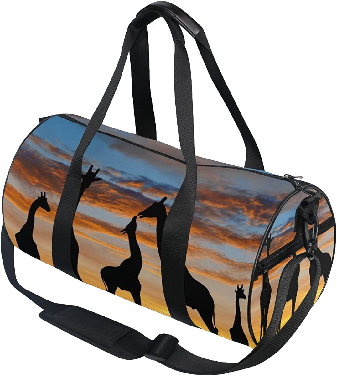 Evolutions African Animal Giraffe Sunset Travel Duffel Bag Sports Gym Bag For Men /& Women