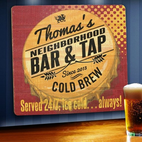 Personalized Wood Home Bar and Tavern Sign - Wooden Bar Sign - Home Bar Sign - Served 24/7 Tavern Wood