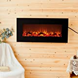 """FLAME&SHADE Electric Fireplace - Indoor Space Heater - On Wall Hanging Freestanding - 10 Realistic LED Flame Effects - 34"""" Flat Panel - Timer - Remote - 1500/750w Heating - Logset Crystal Rocks"""