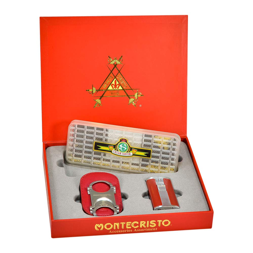 Montecristo Red Accessories Assortment - Cigar Lighter - Cutter - Humidifier