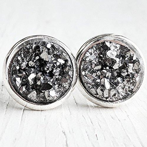 245f8e702 Amazon.com: Gunmetal on Silver - Druzy Stud Earrings ...