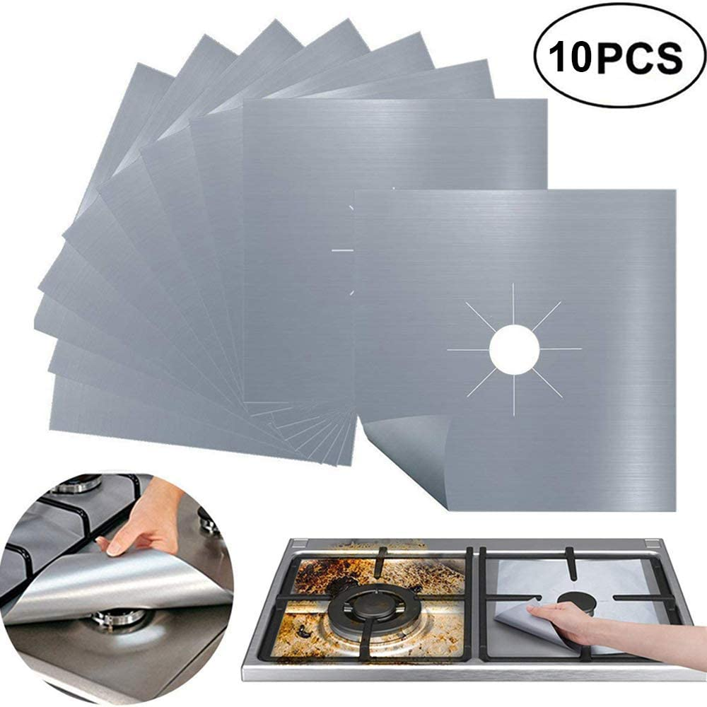 10 Pack Gas Stove Burner Covers, Non-Stick Stove Burner Liners,Gas Range Protectors, Stovetop Covers for Gas Burners Double Thickness 0.3mm Reusable & Dishwasher Safe(Silver)