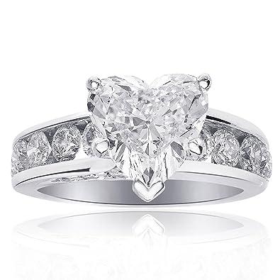 3.47 Carat J SI2 Natural Heart Shaped Diamond Engagement Ring 14K White Gold