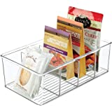 mDesign Plastic Food Storage Organizer Bin Box - 4 Divided Sections - Holder for Seasoning Packets, Pouches, Soups, Spices, S