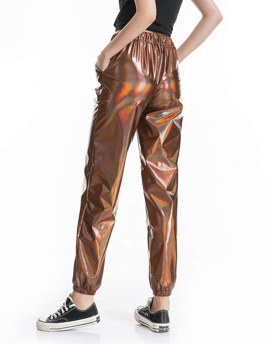 Zaxicht Womens Metallic Shiny Jogger Pants Casual High Waisted Harem Pant Holographic Color Hip Hop Trousers Streetwear