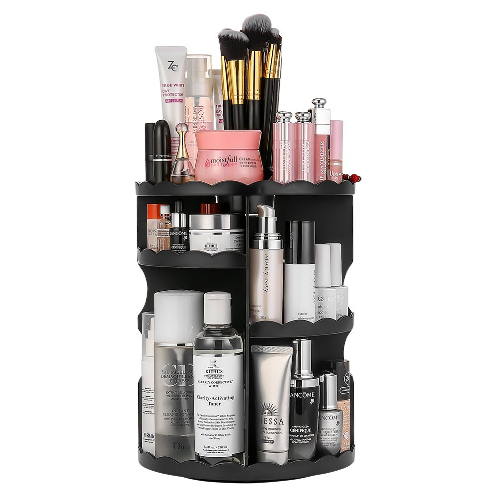 Jerrybox 360 Degree Rotation Makeup Organizer Adjustable Multi-Function Cosmetic Storage Box, Large Capacity, Fits Toner, Creams, Makeup Brushes, Lipsticks and More by Jerrybox