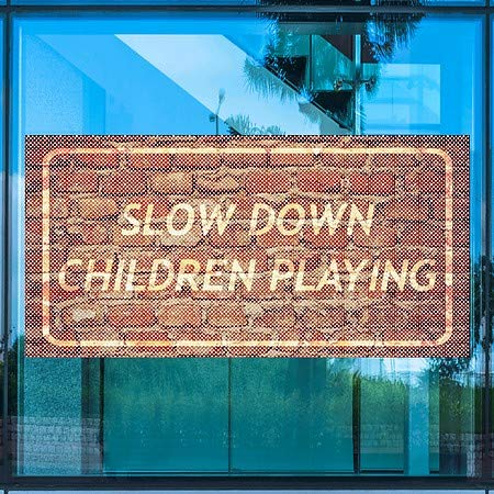 Ghost Aged Brick Perforated Window Decal Slow Down Children Playing 5-Pack CGSignLab 96x48