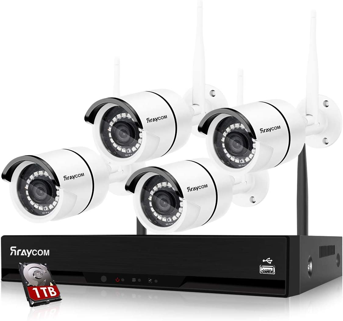 Rraycom 8CH 1080P Security Camera System Wireless,4pcs 2.0MP Home Waterproof Wireless Outdoor Security Cameras, H.265 NVR Surveillance Camera System with 115FT Night Vision Remote View 1TB Hard Drive