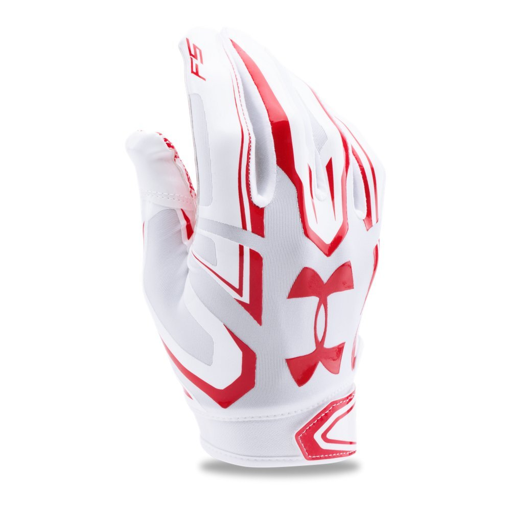 Under Armour Men's F5 Football Gloves, White/Red, Small