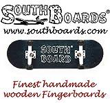 Mini Skateboard/Fingerboard Wood Original of the southboards Hand Made (Black/White/Black)