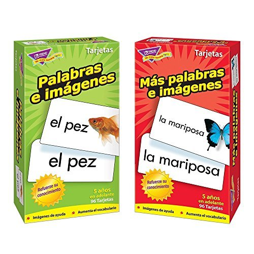 Trend Picture - Spanish Flash Cards from Trend Enterprises, Picture Words & More Picture Words / Palabras e imágenes & Más palabras e imágenes -- Skill Drill Flash Cards -- Bundle of 2 Items by Trend Enterprises