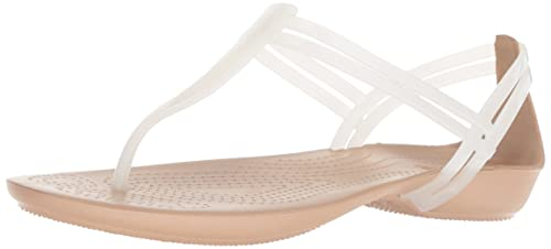 c72057aed7dc crocs Women s Isabella T-Strap Flat Sandal Oyster Gold W4 M US  Buy ...