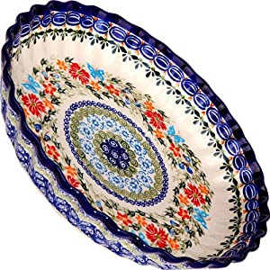 Polish Pottery Ceramika Boleslawiec, 1212/238, Pie Baker Small, 25.1cm in Diameter – 4 Cups, Royal Blue Patterns with Red Cornflower and Blue Butterflies Motif