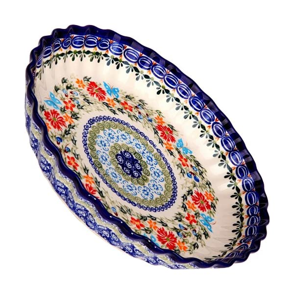 Polish Pottery Ceramika Boleslawiec, 1212/238, Pie Baker Small, 9 7/8 Inches in Diameter – 4 Cups, Royal Blue Patterns with Red Cornflower and Blue Butterflies Motif