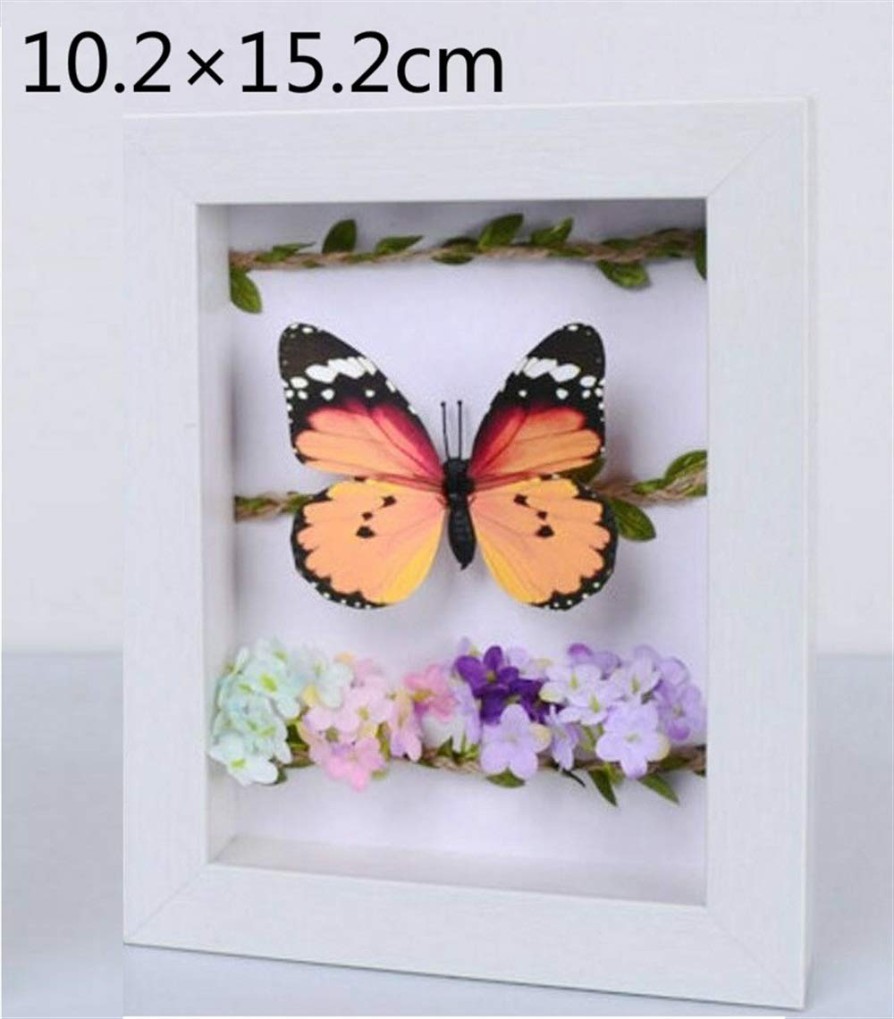 Huhgue Photo Frame Approx.10.2×15.2cm Rectangular Stereo Photo Frame Dried Flower Frame Specimen Box for Home Decoration (White Artificial Wood Grain)