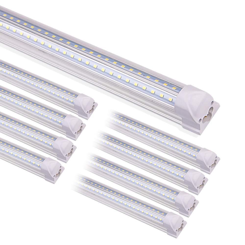 Kihung T8 LED Tube Light Fixture 8ft, 4000K, Led Strip Light for for Cooler Doors, Garage Shop Light, 75W 9000lm Led High Bay 8-Pack