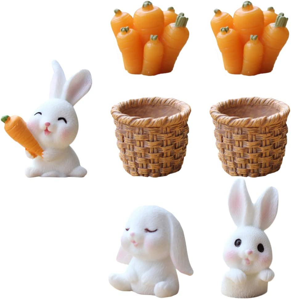 PRETYZOOM Easter Decoration Kit Bunny Miniature Straw Basket Carraot Figures Rabbit Bunny Fairy Garden Decor Dollhouse Ornament Micro Landscape Decor Cake Topper 7pcs