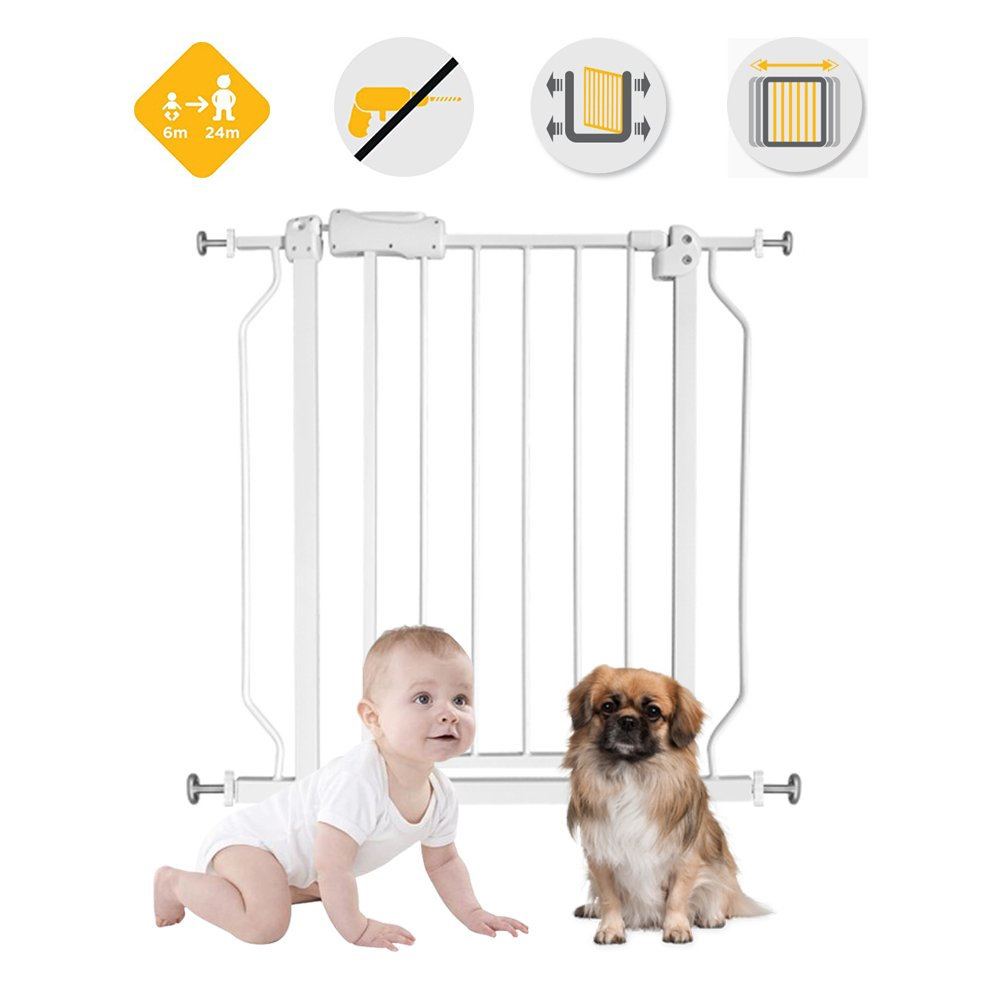Fairy Baby Narrow Baby Gate for Stairs Walk Through Easy Auto Close White Child Safety Gate,Fits Spaces Between 48.0'' and 52.75'' Wide,White (3-7 Days delivery)) by Fairy Baby (Image #5)
