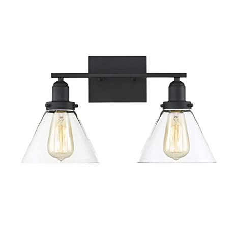 finest selection a7175 abb5b Savoy House 8-9130-2-BK Drake 2-Light Bathroom Vanity Light in a Black  Finish with Clear Glass (18