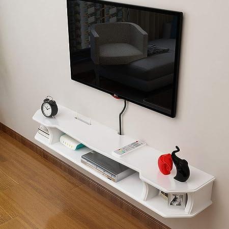 YAXIAO Consola Flotante montada en la Pared Dispositivo/Dispositivo de transmisión de parlantes de la Caja de TV del enrutador de WiFi. Estante de Pared (Color : White+Brown, Size : 90cm): Amazon.es: Hogar