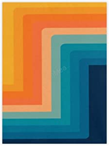"""VinMea Decorative Art Printing Poster Retro 70s Color Lines Wall Art Paper Poster Printing Unframed Prints for Wall Decor 16"""" X 24"""""""