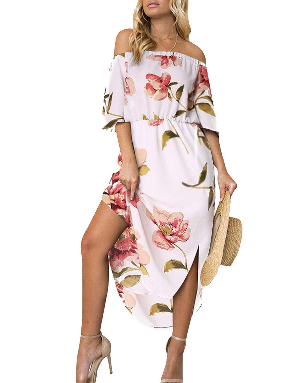 YOINS Sommerkleid Damen Lang V-Ausschnitt Off Shoulder Maxikleider für Damen Kleider Lose Boho Kleid Strandmode