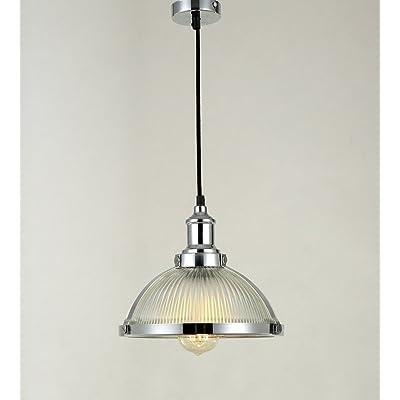 maxmer suspension luminaire industrielle vintage r tro abat jour verre plafonnier edison e27. Black Bedroom Furniture Sets. Home Design Ideas