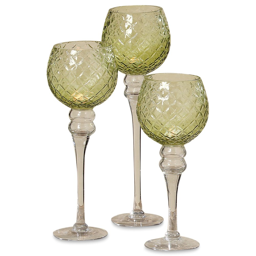The Spectacular Cape Cod Long Stem Candle Holders, Set of 3, Quilted Green and Clear Glass, 5 Inch Candle Cup for Votive Candles, 15 3/4, 13 3/4 and 11 3/4 Inches Tall, by Whole House Worlds by WHW Whole House Worlds