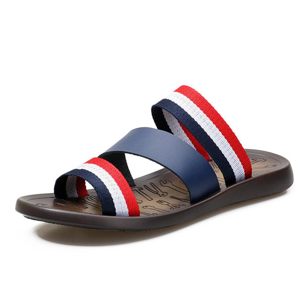 XING GUANG GUANG GUANG Sommer Neue Stil Herren Hausschuhe Herrenmode Wort Flip Flops Strand Sandalen Flip-Flops,Blau-38 145778