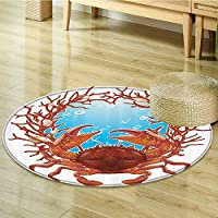 Seashells Decor Circle carpet By Nalahomeqq Crab Spiral Seashells And Red Coral Frame Aquarium Cockleshell Branch Bubbles Claws Nature Room Accessories Extralong-Diameter 130cm(51)