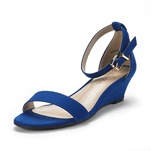 8bcae9fc3b222 DREAM PAIRS Women s Ingrid Royal Blue Suede Ankle Strap Low Wedge Sandals  Size 6 ...