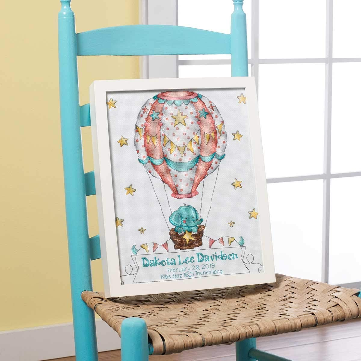 Bucilla 47876E Stamped Cross Stitch Baby Crib Cover Up Up and Away