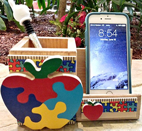 WOODEN CELL PHONE STAND/MEMO - PEN HOLDER, AA-R92 APP - w/WOOD APPLE & PUZZLE DESIGN made in USA. TEACHER APPRECIATION GIFT. Accessories are not included unless ()