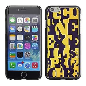 FECELL CITY // Duro Aluminio Pegatina PC Caso decorativo Funda Carcasa de Protección para Apple Iphone 6 // Letters Yellow Black Pattern Teacher