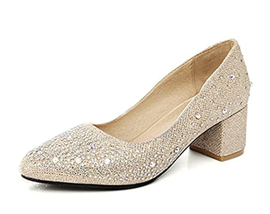 Aisun Damen Fashionable Strass Low Cut Blockabsatz Pumps Silber 45 EU TaH5AK