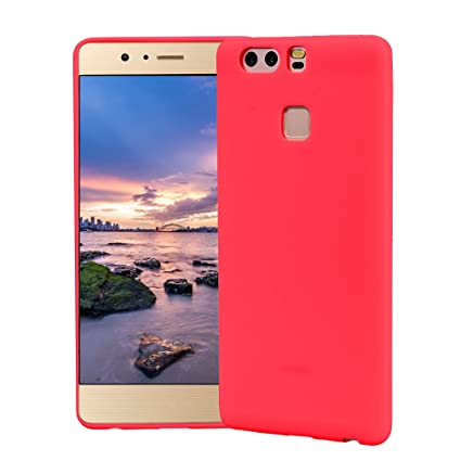 Funda HuaWei P9, Carcasa HuaWei P9 Silicona Gel, OUJD Mate Case Ultra Delgado TPU Goma Flexible Cover para HuaWei P9 - Rojo
