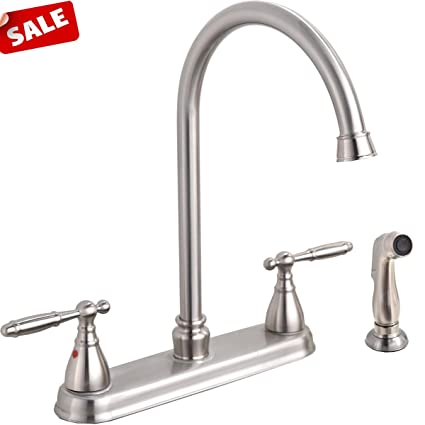 Brushed Nickel Double Handle Stainless Steel Kitchen Faucet High
