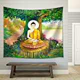 wall26 - Traditional Thai Style Painting Art on Temple Wall,Thailand.Generality in Thailand - Fabric Wall Tapestry Home Decor - 68x80 inches