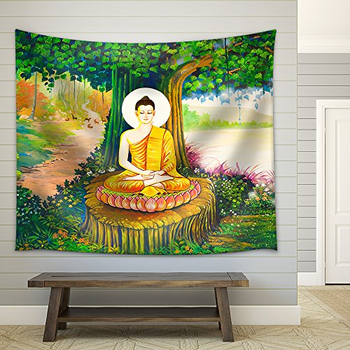 wall26 - Traditional Thai Style Painting Art on Temple Wall,Thailand.Generality in Thailand - Fabric Wall Tapestry Home Decor - 68x80 inches by wall26