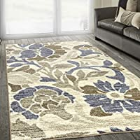 Superiors Designer Non-slip Roselyn Area Rug; Digitally Printed, Low Maintenance, Affordable and Fashionable, Cream-Beige - 5 x 8