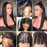 Lace Front Human Hair Wigs with Baby Hair 8A Straight Brazilian Virgin Remy Hair Glueless Full Lace Wig for Black Women(22inch with 180 density,Lace Front Wig)