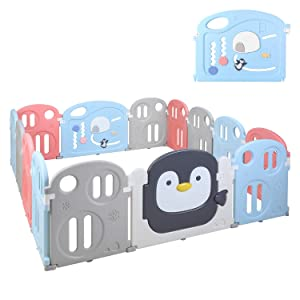 "POTBY Baby Playpen 14 Panel Kids Activity Center Playard, Penguin Pattern with Game Gate &Double Lock Door Gate& Storage Pocket, Fun Time Home Indoor Outdoor Fence for Toddler Boys Girls, 70""x 78"""