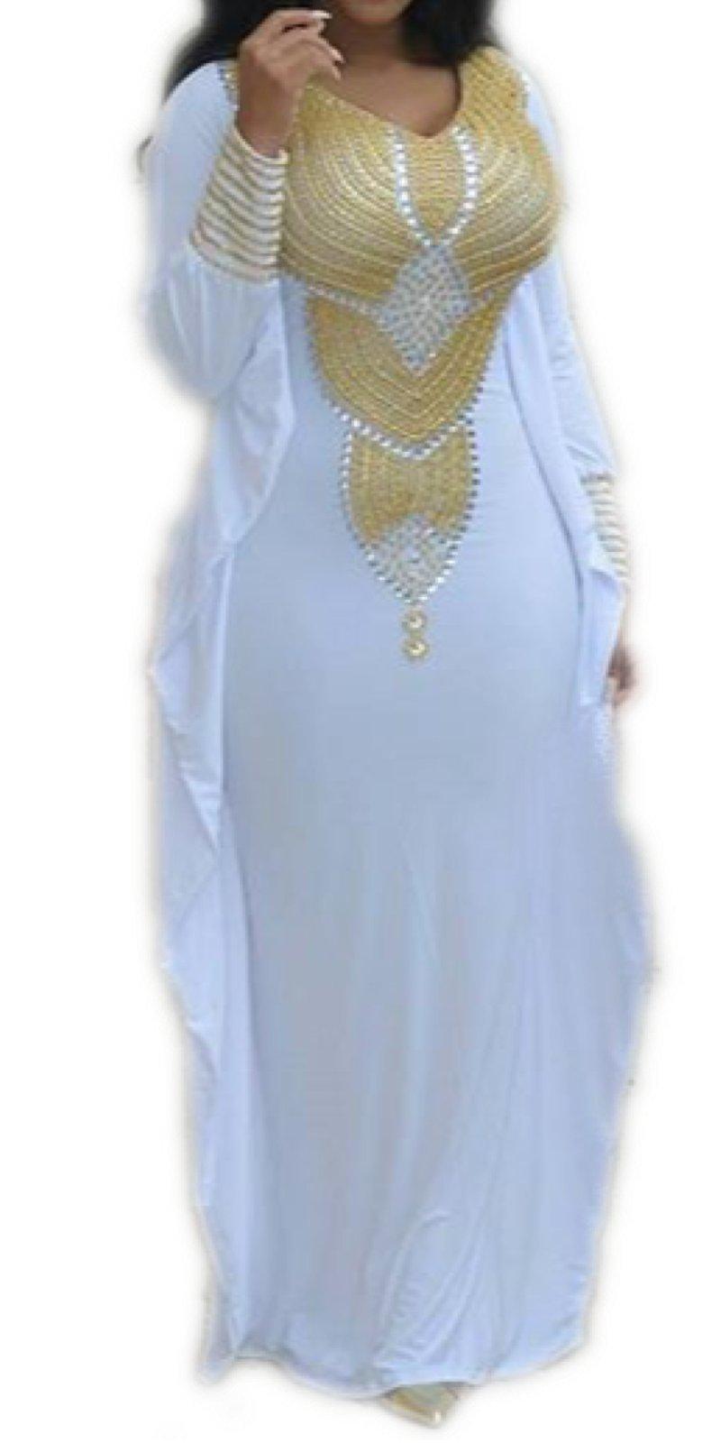 Allena - Fitted Batwing 04 - Handbeaded Kaftan, Dress, Abaya (XX-Large, White)