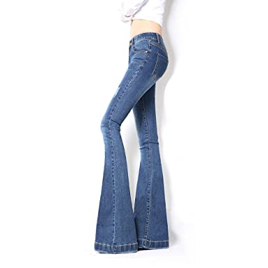 be1832bf Image Unavailable. Image not available for. Color: VIGVOG Womens Retro Flare  Wide Leg Pant Jeans